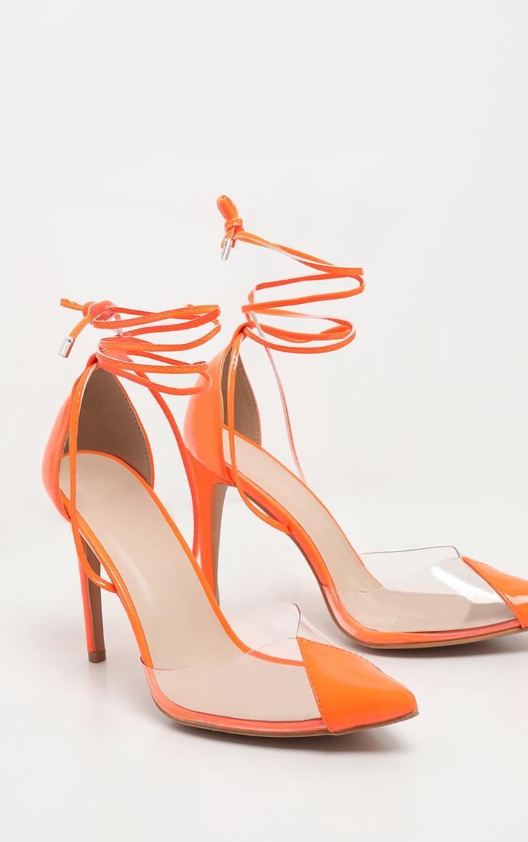 Orange Clear Ankle Tie Court Shoes 4