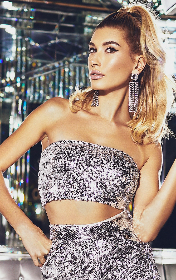 Silver Sequin Bandeau Zip Back Crop Top 1