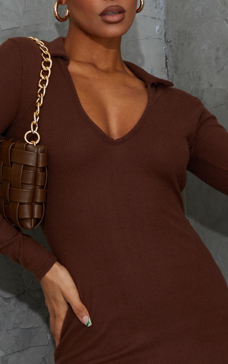 Chocolate Brushed Rib Collar Detail Bodycon Dress 4