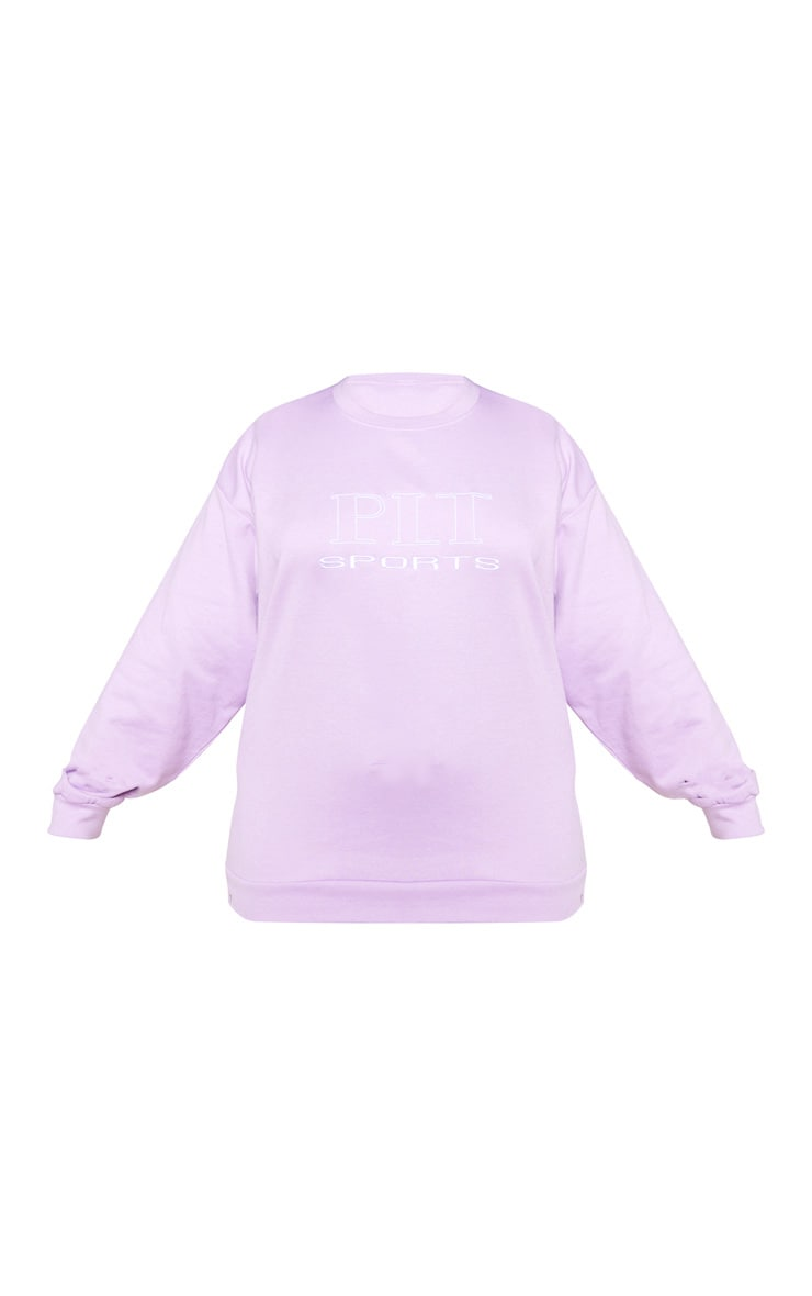 PRETTYLITTLETHING Plus Lilac Embroidered Oversized Sweatshirt 3