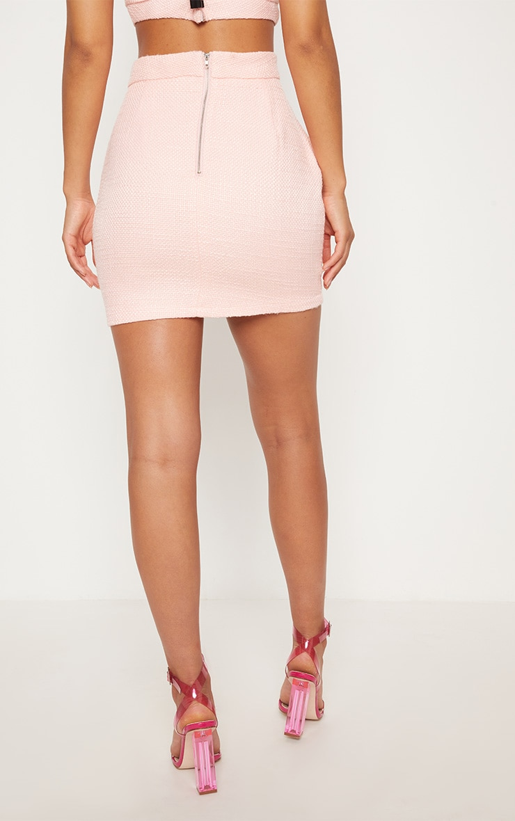 Pastel Pink Boucle High Waisted Skirt 5