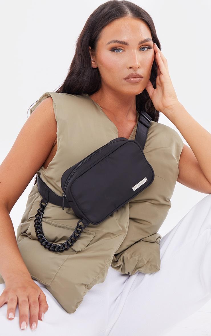 PRETTYLITTLETHING Black Mini Square Crossbody Bag 1