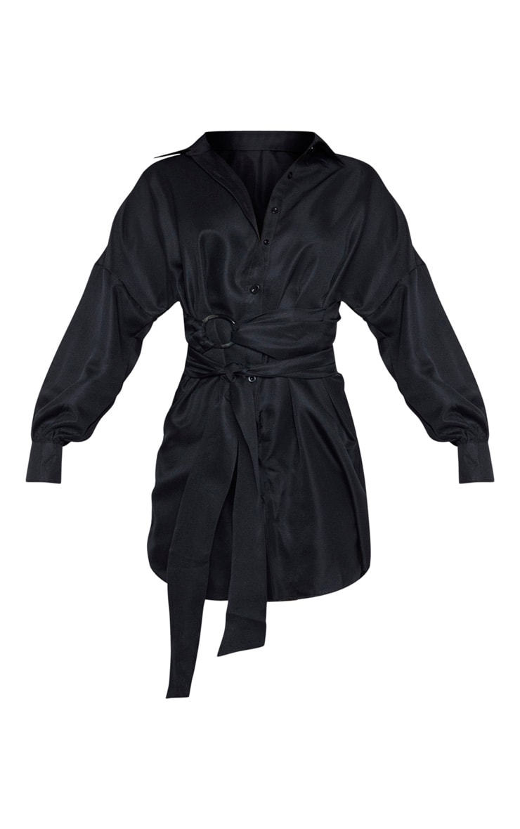 Tall Black Belted Tie Shirt Dress 3