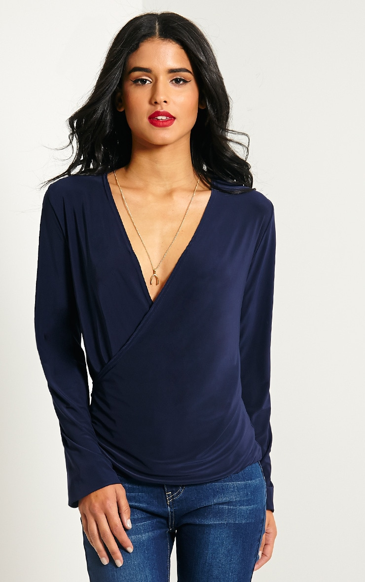 Kimberley Navy Slinky Wrap Top 4