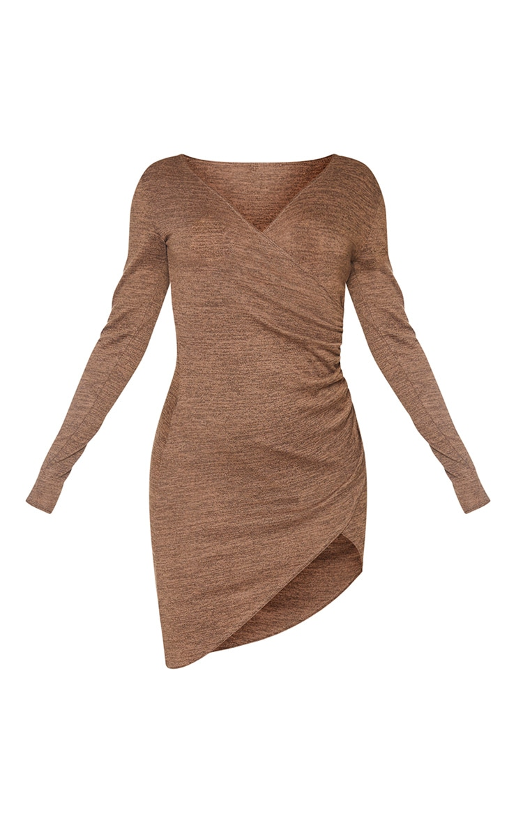 Chocolate Ruched Wrap Detail Bodycon Dress 5