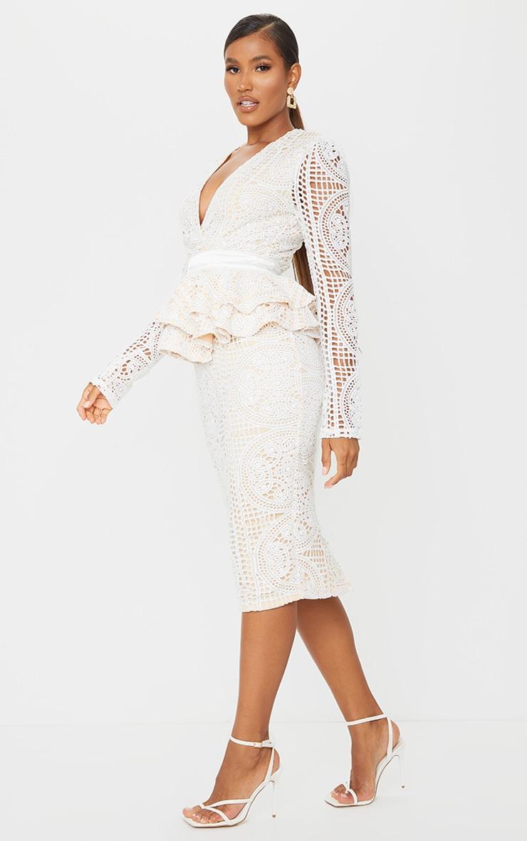 White Lace Plunge Peplum Frill Midi Dress 3
