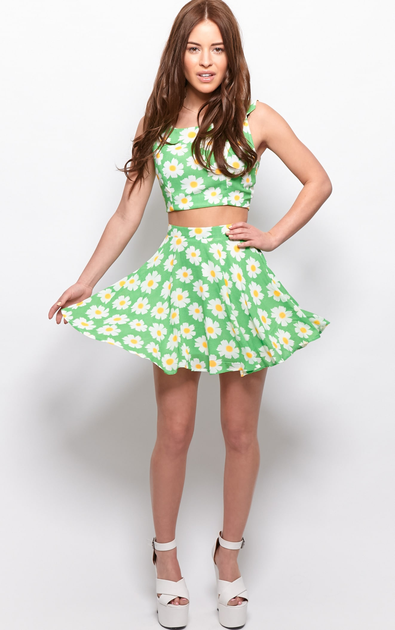 Tatum Green Daisy Print Swing Skirt 1