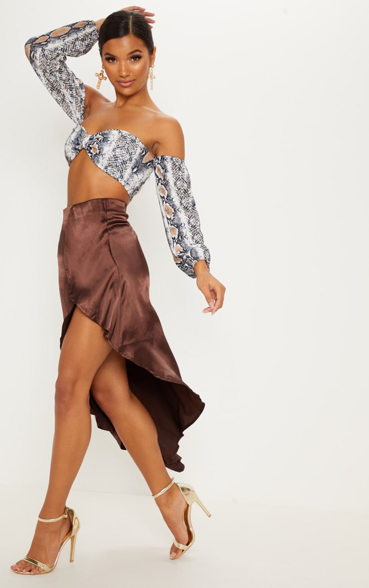 Chocolate Satin Asymmetric Skirt