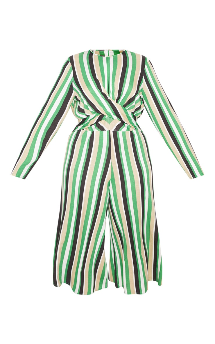 Plus Green Twist Front Stripe Culotte Jumpsuit 3