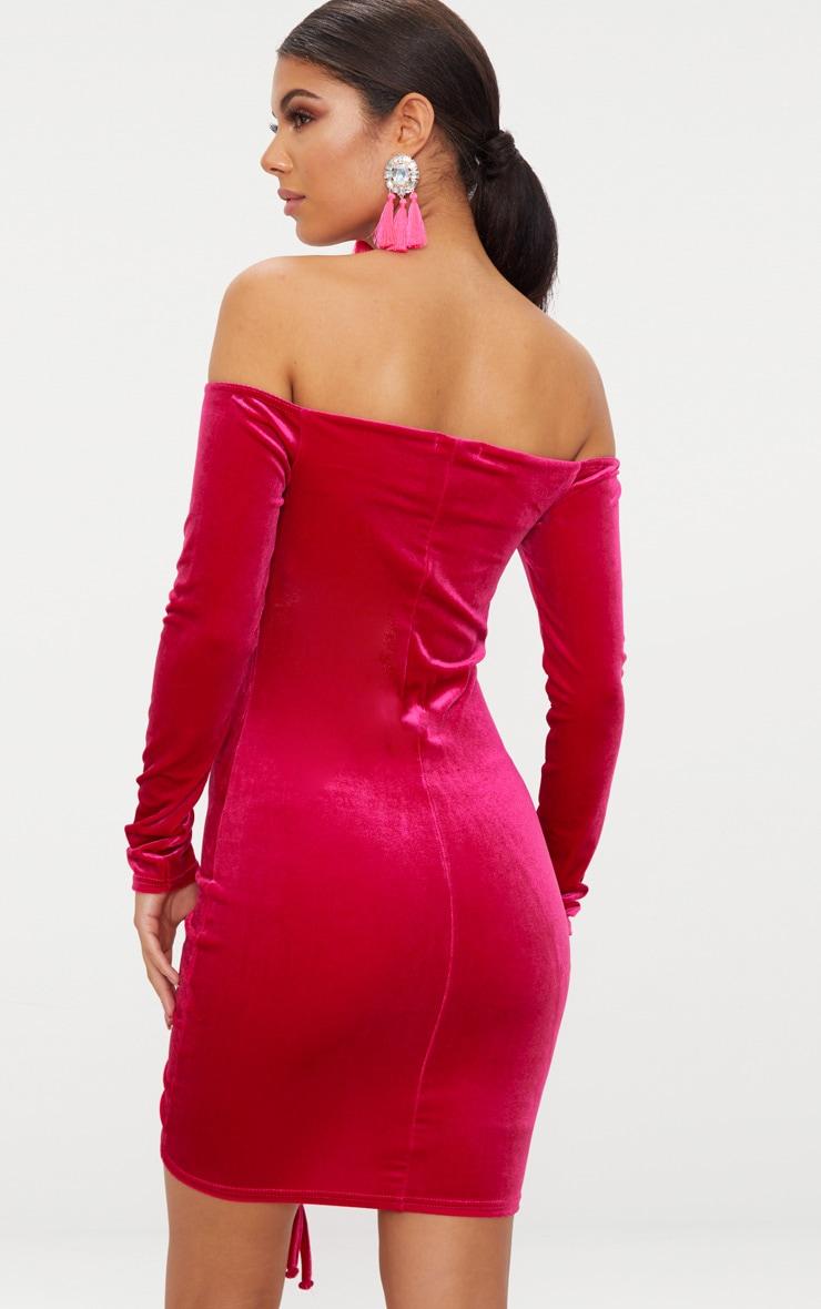 Pink Velvet Bardot Long Sleeve Ruched Bodycon Dress 2