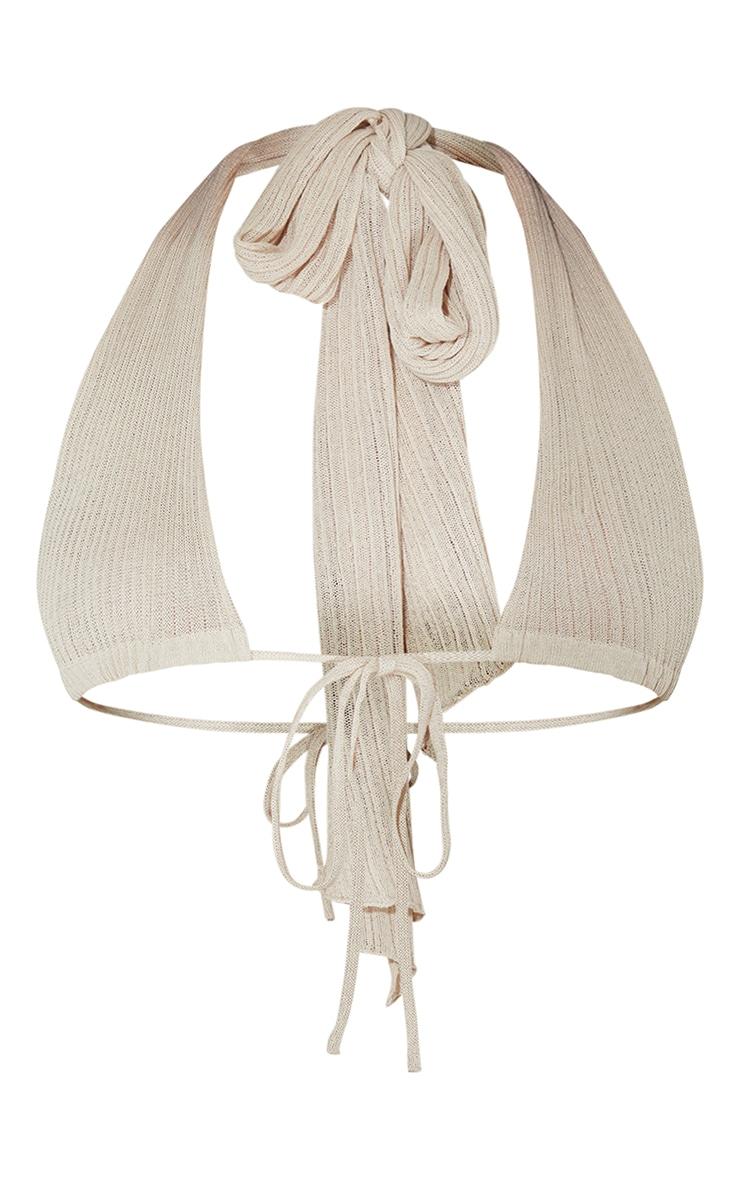 Stone Sheer Knit Cross Halter Neck Top 5