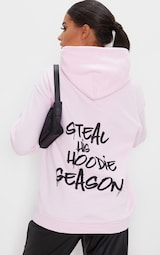 Baby Pink Steal His Graphic Hoodie 1