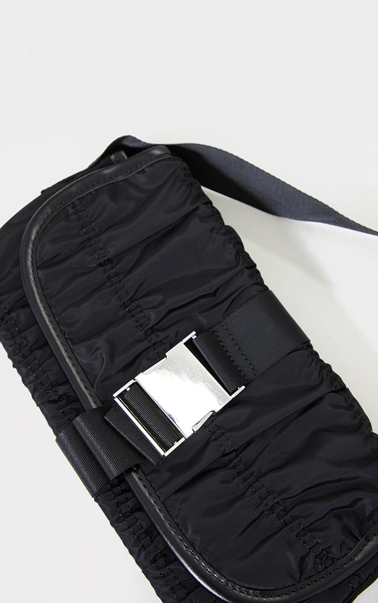 Black Ruched Front Buckle Shoulder Bag 2