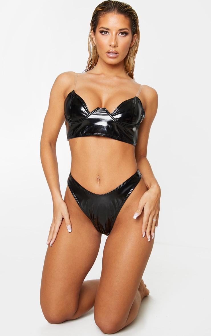 Black Vinyl Clear Strap Underwired Bikini Top 1