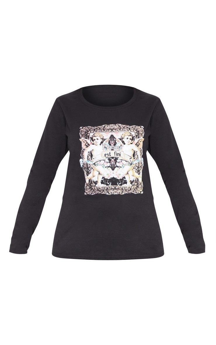 Black Cupid Print Long Sleeve T Shirt 3