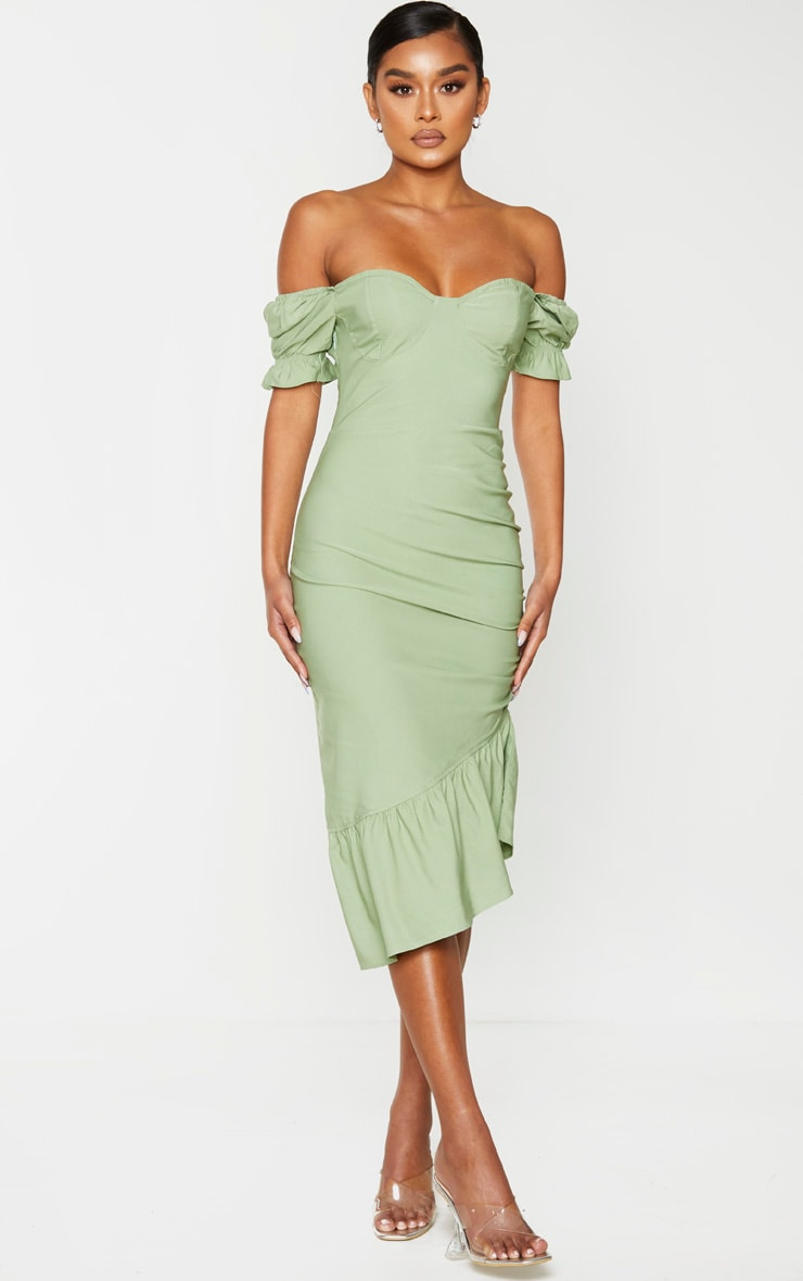 Sage Green Puff Sleeve Frill Hem Midi Dress 1