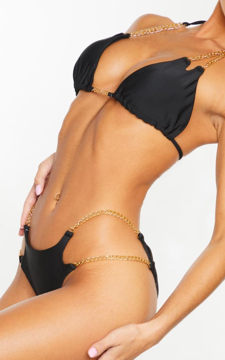 Black Chain Strap Bikini Bottoms 4