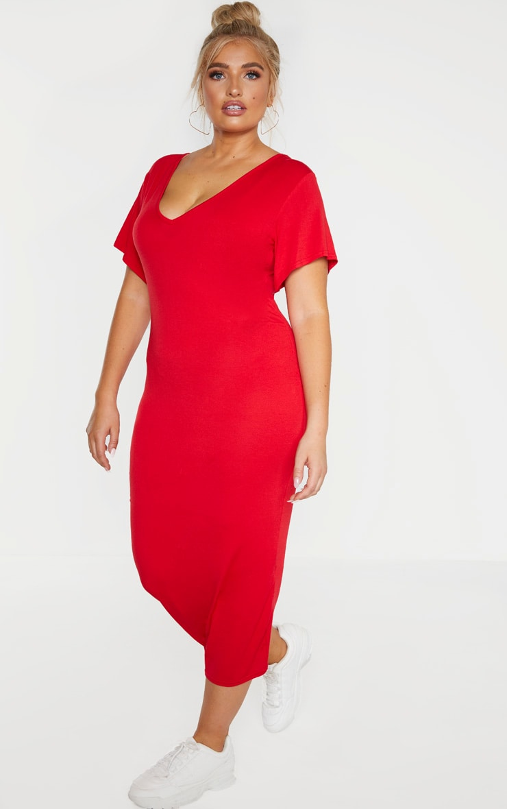 Plus Red Jersey V Neck T-Shirt Midi Dress  1