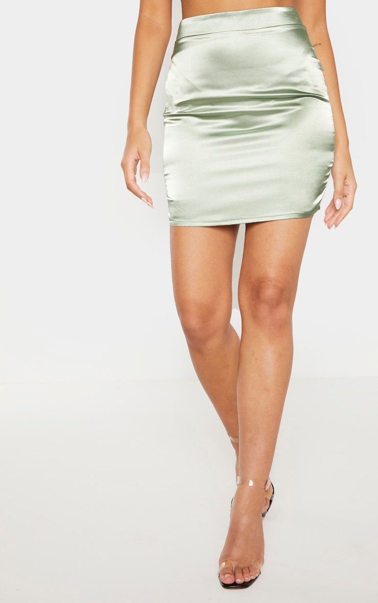 Sage Green Satin High Waisted Mini Skirt 2