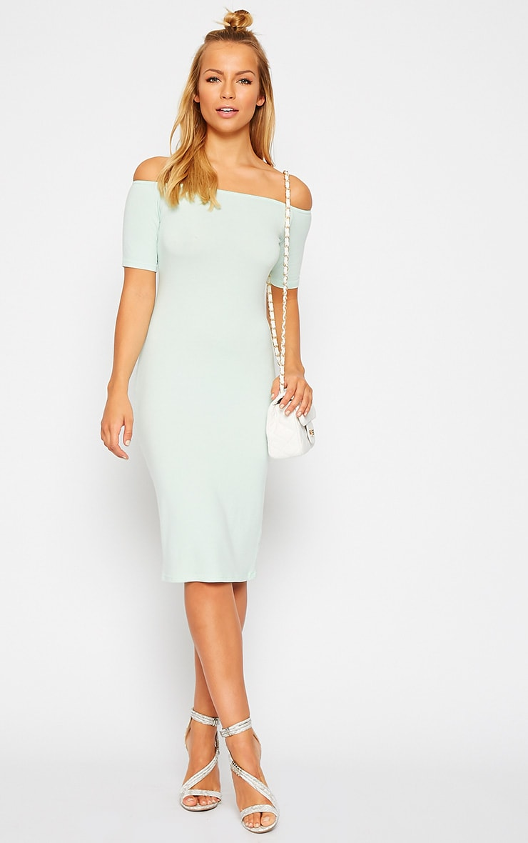 Caty Mint Jersey Bardot Midi Dress 1