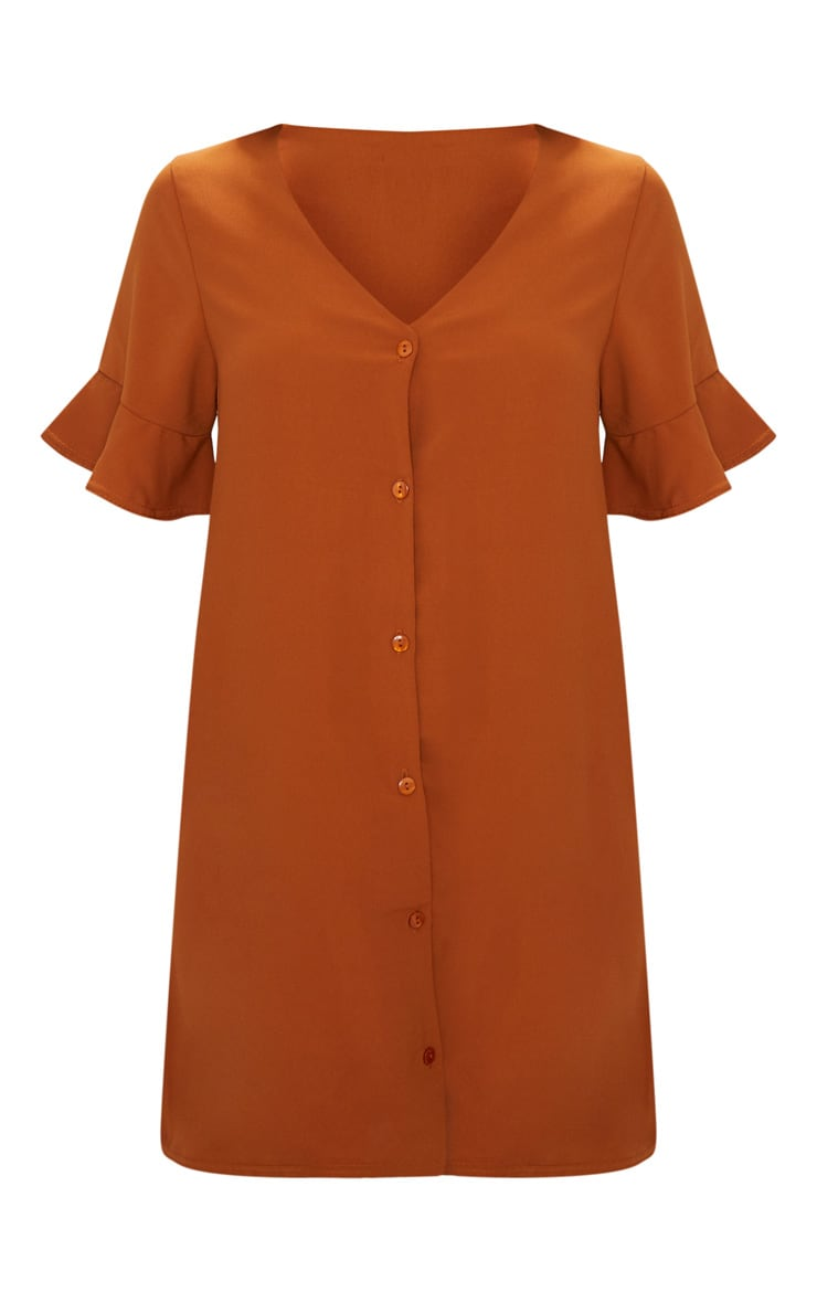 Rust Button Through Frill Sleeve Dress  3