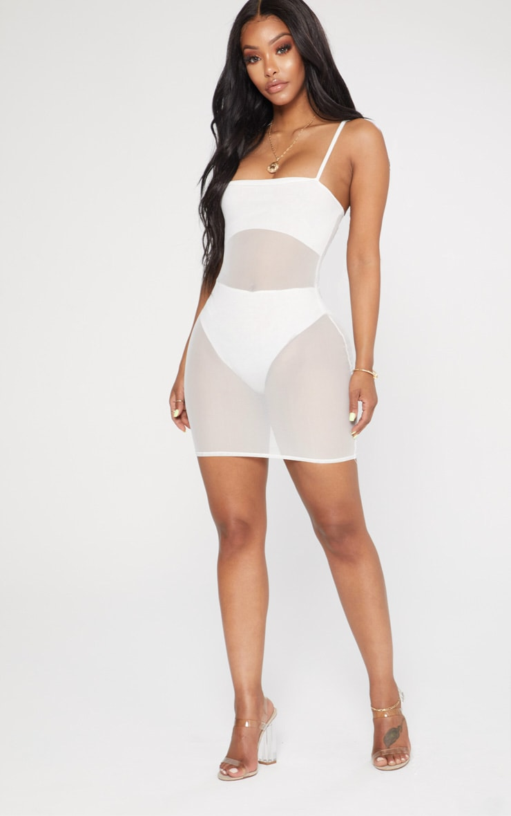 Shape White Mesh Panel Bodycon Dress 4