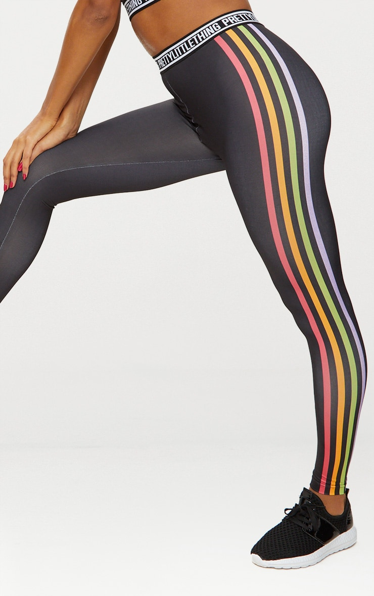 Black Multi Stripe Sports Leggings  6