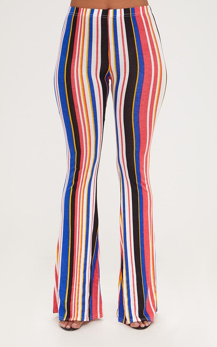 Multi Jersey Stripe Flared Trousers 2