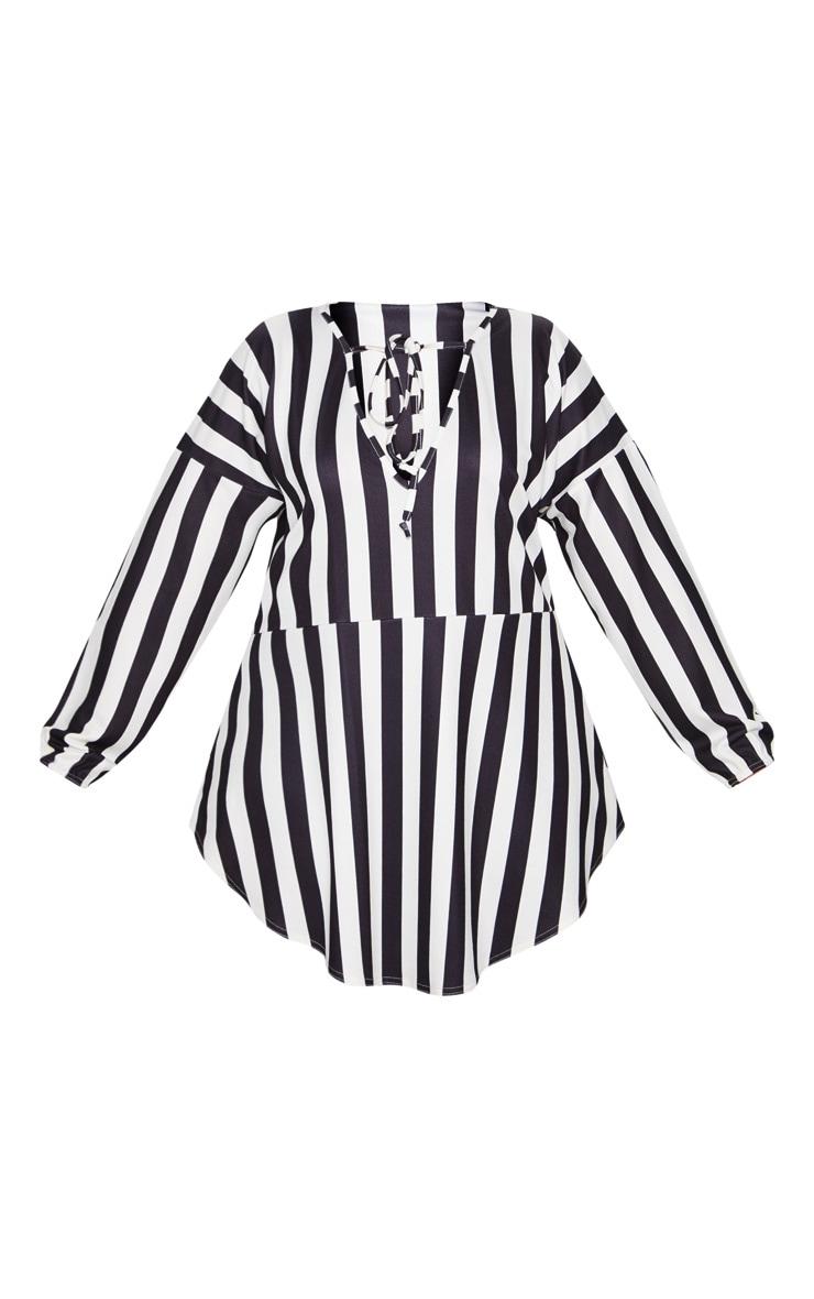 Plus Monochrome Striped  Print Tie Detail Floaty Top 3
