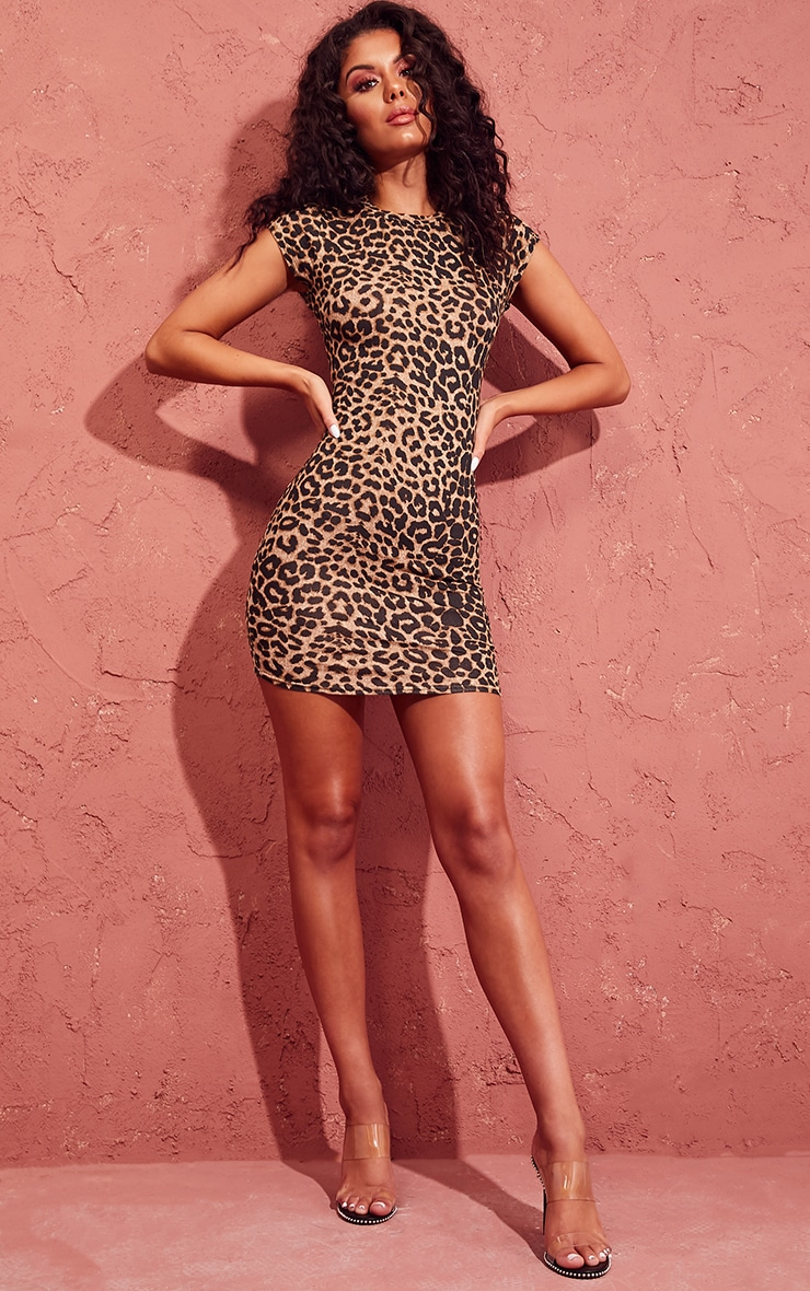 272baf57f8 Leopard Print High Neck Cap Sleeve Bodycon Dress image 1