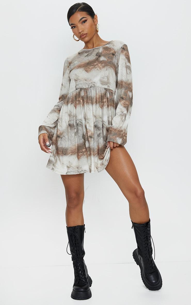 Tan Cloud and Smoke Print Long Sleeve Smock Dress 1
