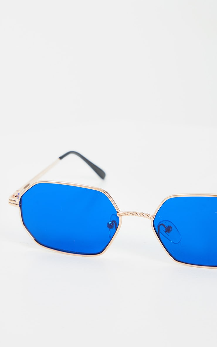Gold Trim Blue Lens Hexagon Sunglasses 3