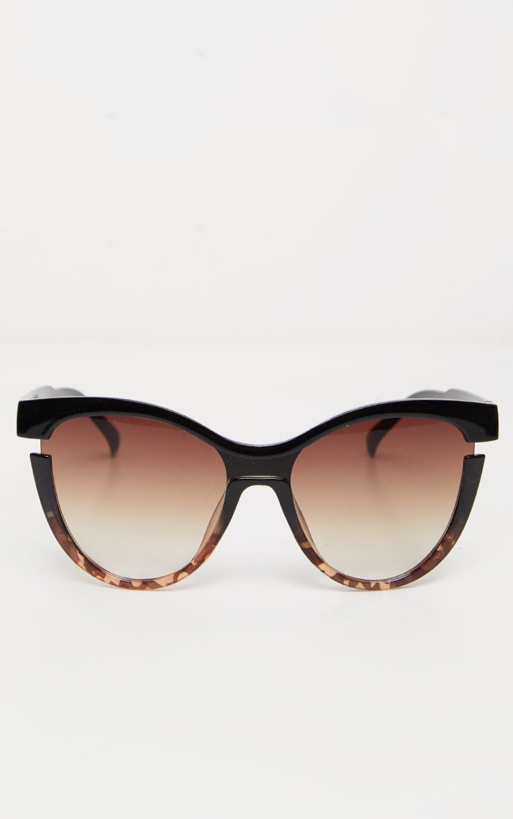 Black Oversized Cat Eye Tortoiseshell Sunglasses 2