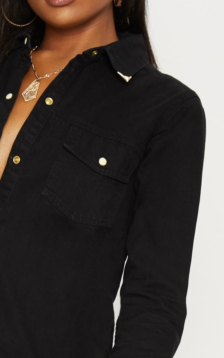 Black Western Tipped Collar Denim Shirt 5