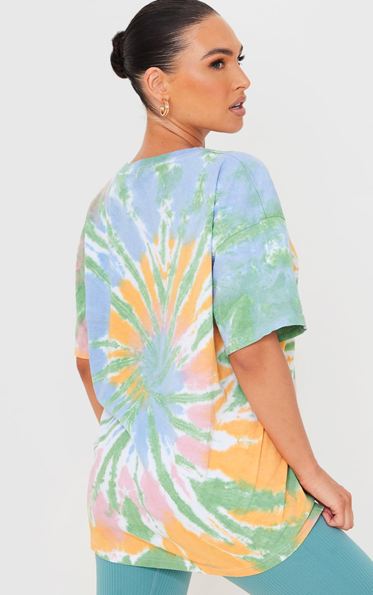 Multi Tie Dye Print Oversized T Shirt 2