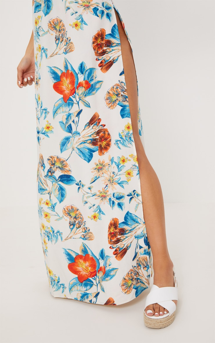 White Floral Print Plunge Maxi Dress 4