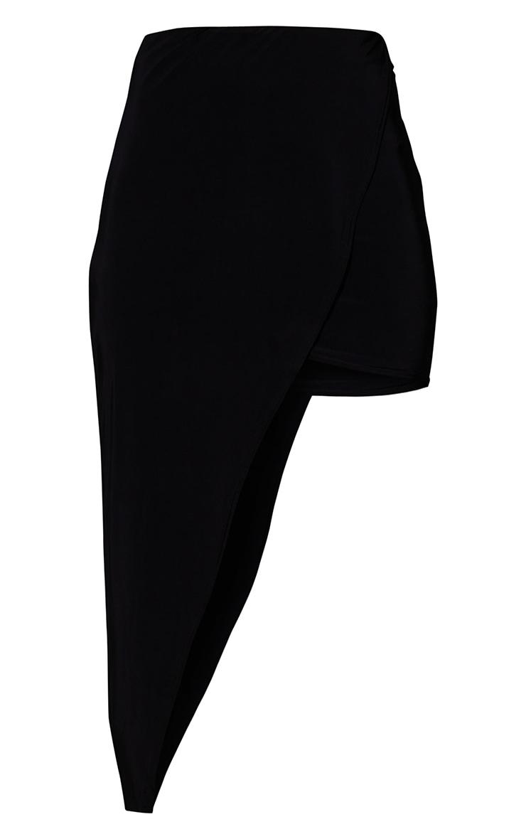 Black Asymmetric Slinky Wrap Over Midi Skirt 5