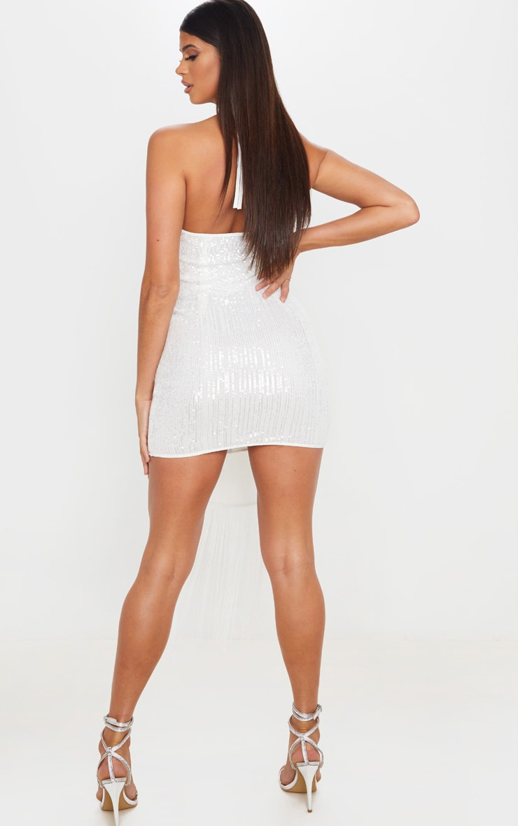 White Sequin Halterneck Tassel Drape Bodycon Dress 2
