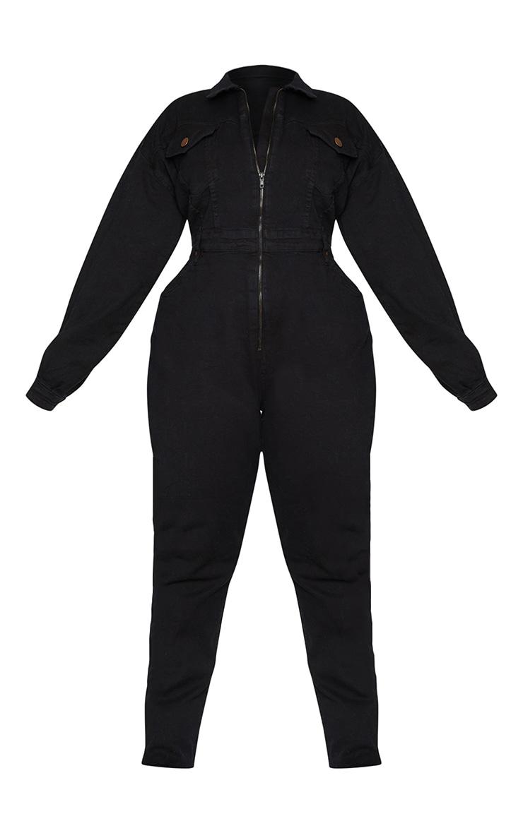 Plus Black Denim Zip Front Jumpsuit 5