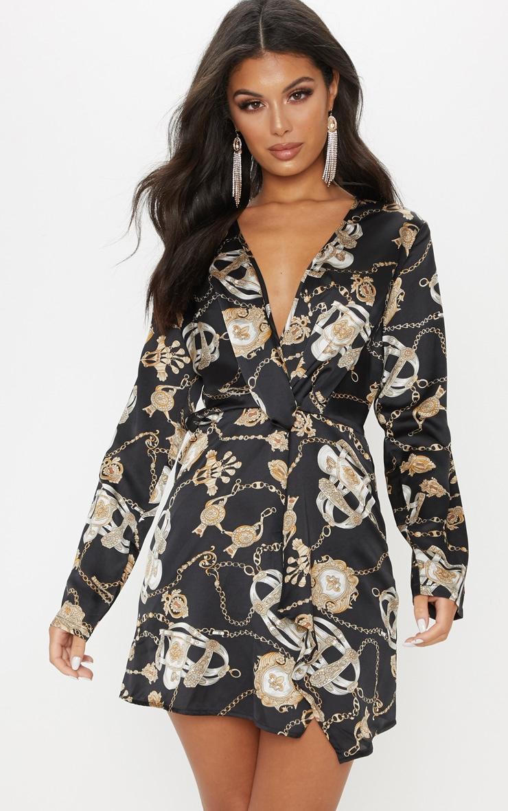 385904fe53b Black Satin Chain Print Long Sleeve Wrap Dress image 1