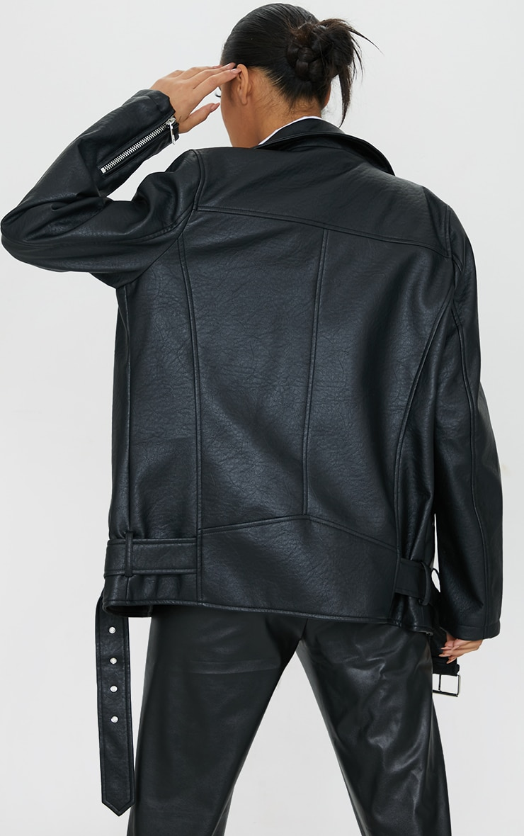 Black Oversized Faux Leather Zip Detail Biker Jacket 2