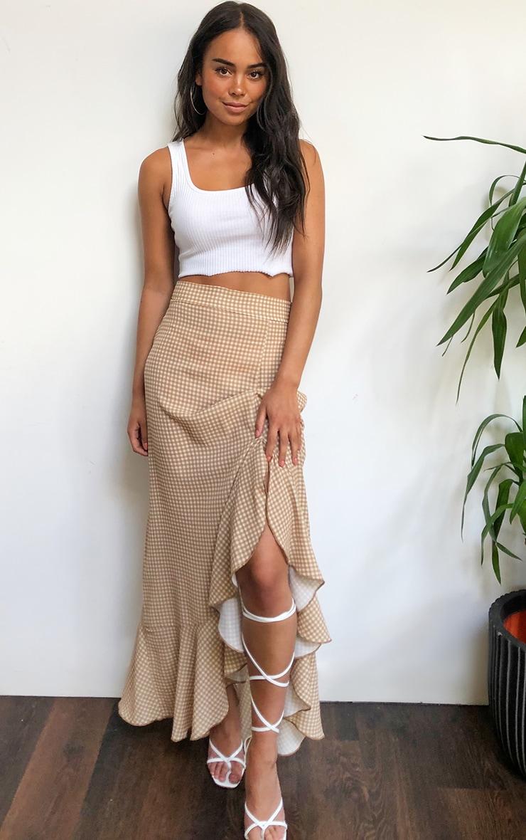 Stone Gingham Frill Hem Wrap Maxi Skirt 1