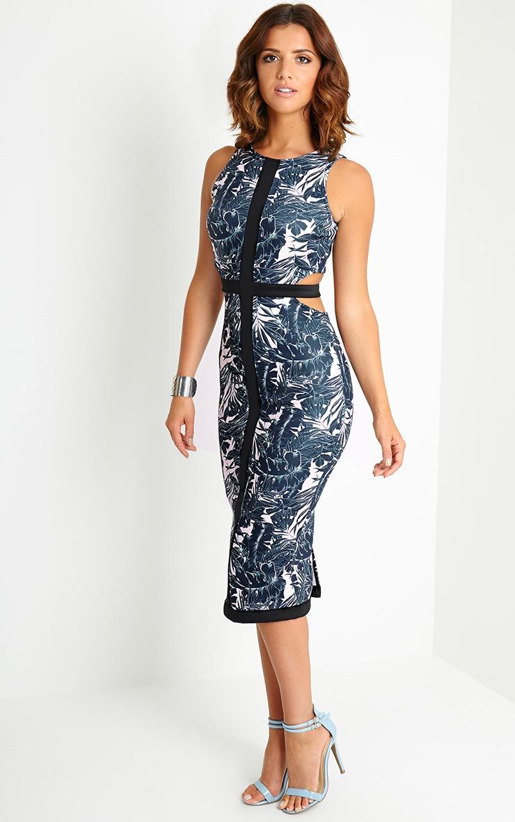Lyla Tropical Cut Out Midi Dress 4
