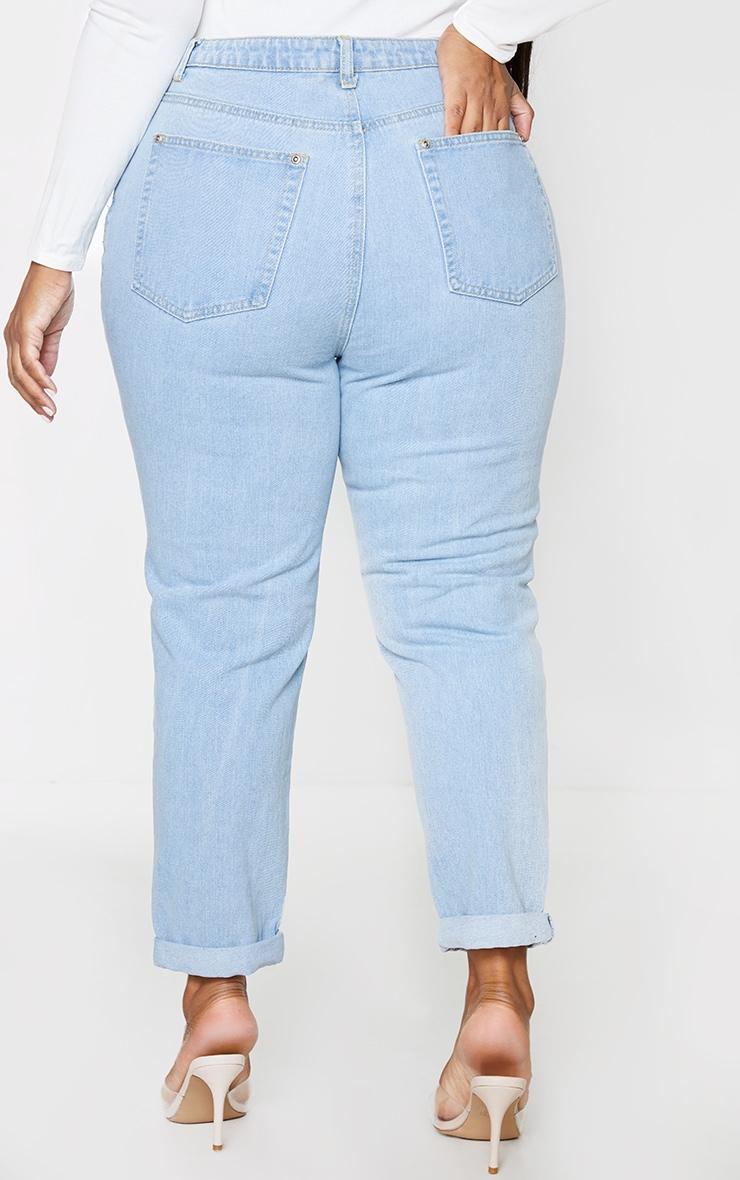 Plus Light Wash Super Distress Mom Jeans 3