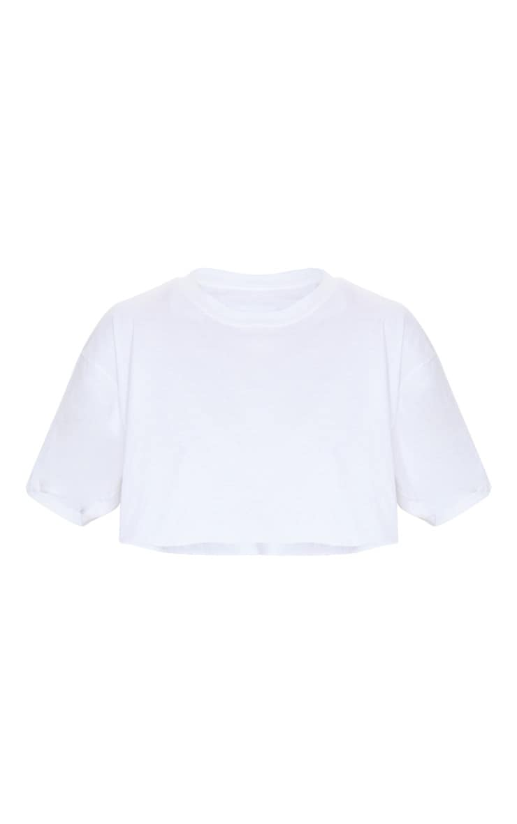 White Ultimate Oversized Crop T Shirt 5