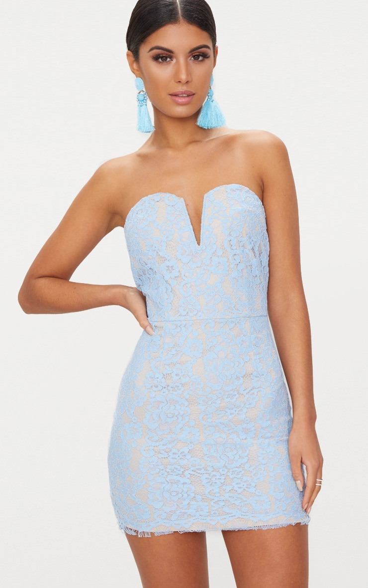 Dusty Blue Bandeau Lace V Bar Bodycon Dress 1