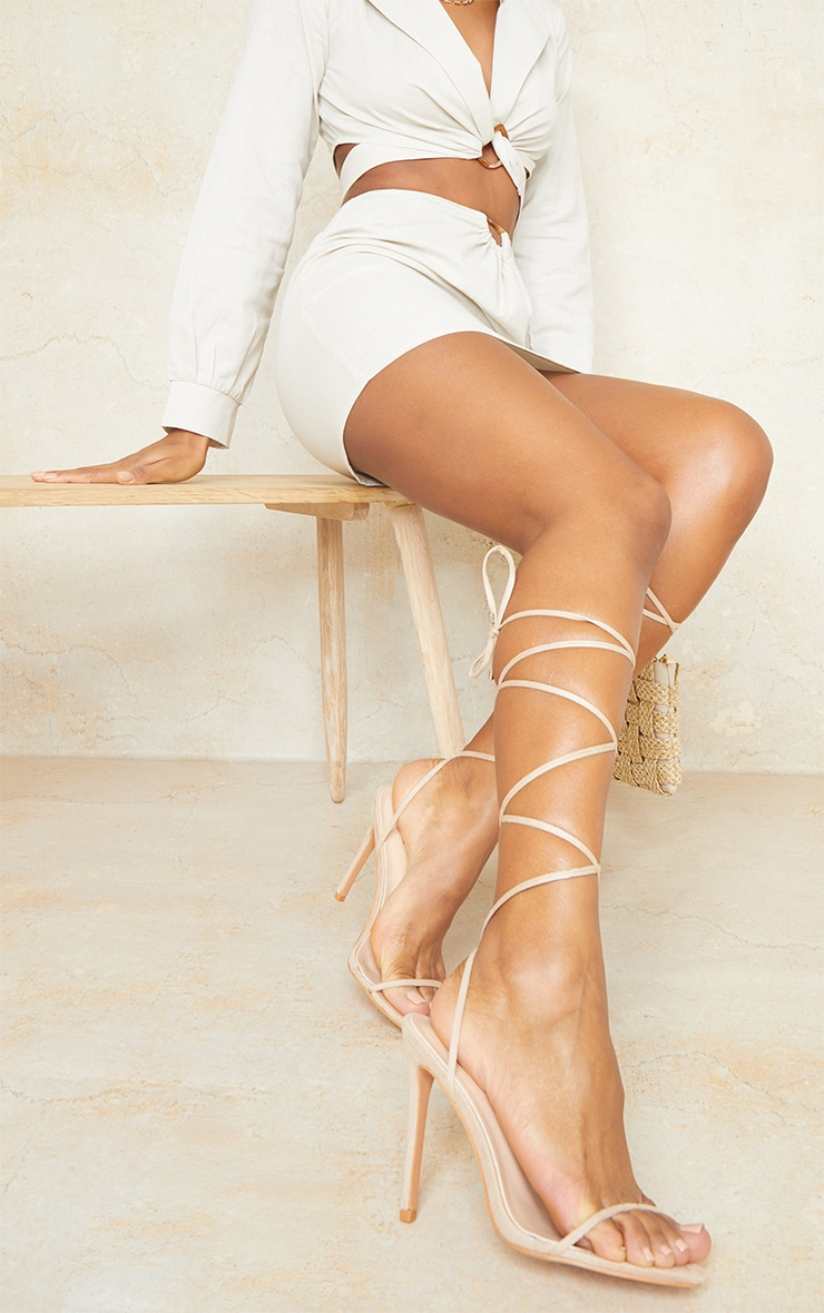 Nude Wide Fit Faux Suede Round Toe Barely There Strappy Heeled Sandals 1
