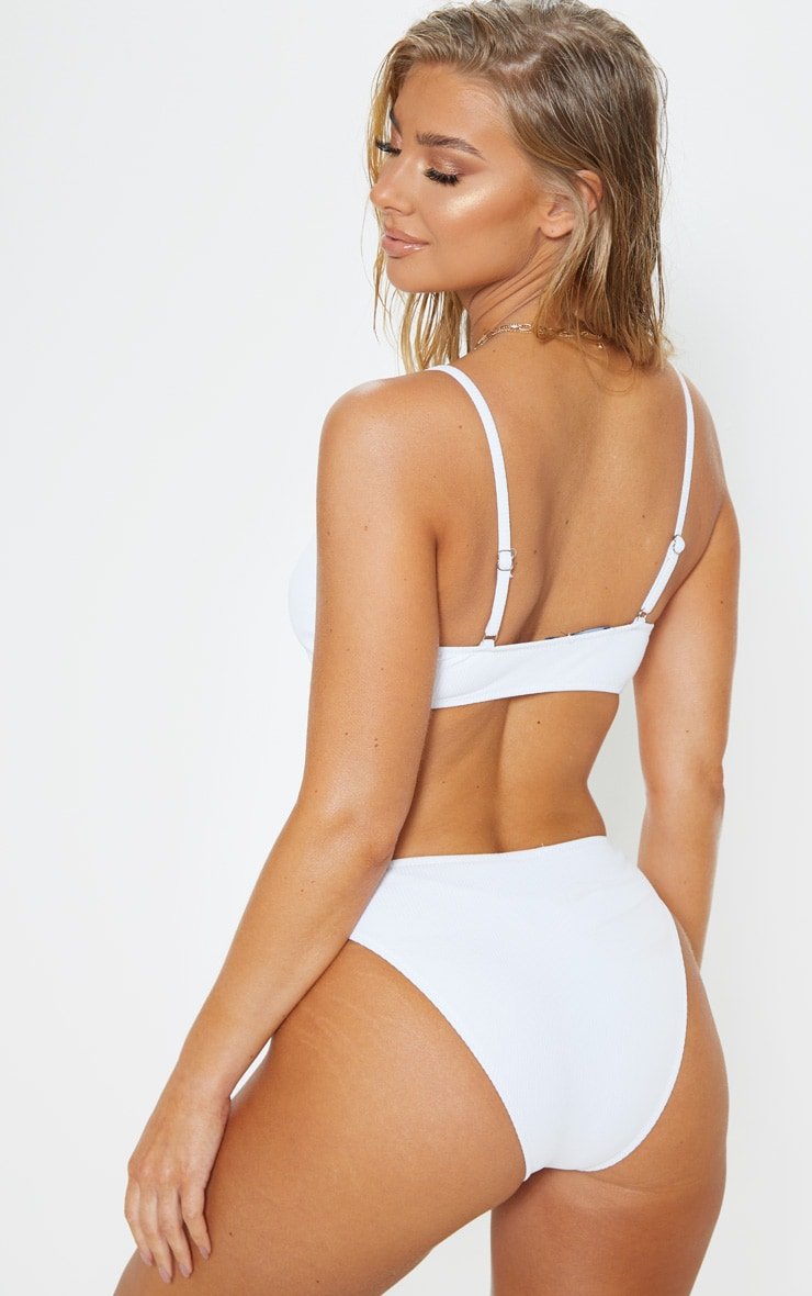 White Ribbed Two Tone Scoop Neck Bikini Top 2