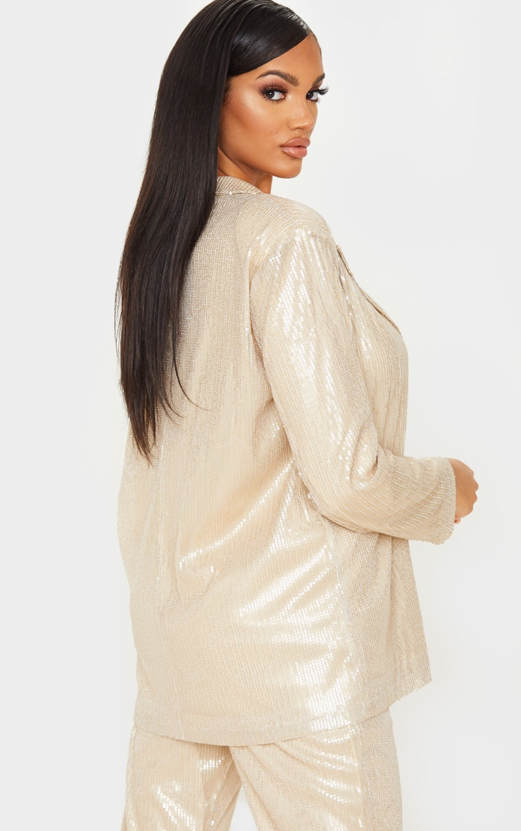 Gold Sequin Oversized Blazer 2
