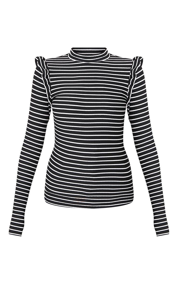 Zooey Black Stripe Frill Long Sleeve Top 3